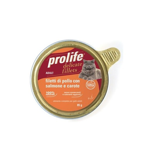 Filetti di pollo con salmone e carote Prolife gatto adult vaschetta da 85gr