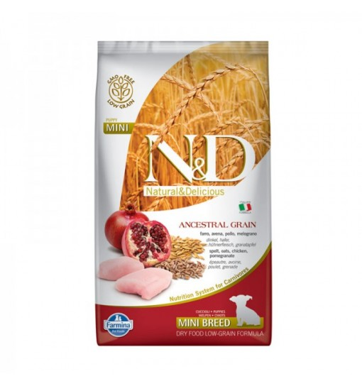 N&D low puppy mini grain farro avena pollo e melograno 2,5 kg