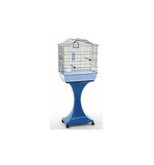 Gabbia con piedistallo con ruote per canarini pappagallini Martina blu con fondo trasparente