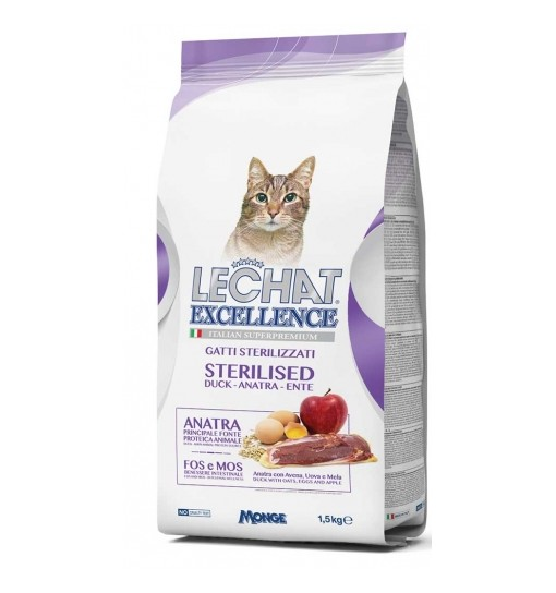 Lechat Excellence gatto Sterilised anatra 1,5 kg